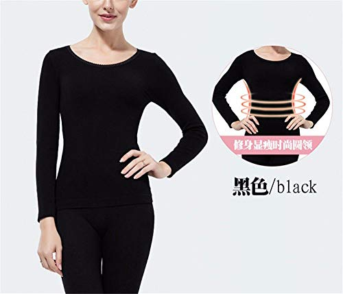 YMFIE Damen Winter warme Körper Korsett basierend Schlanke langärmelige T-Shirts Hosen Unterwäsche Set, F