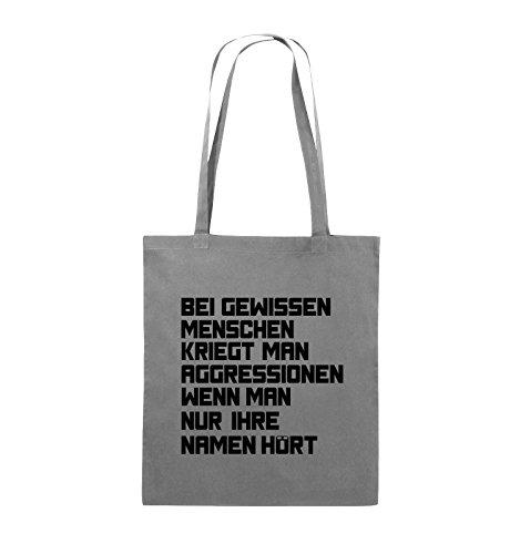 Comedy Bags - Bei gewissen Menschen kriegt man Aggressionen. - Jutebeutel - lange Henkel - 38x42cm - Farbe: Schwarz / Silber Dunkelgrau / Schwarz