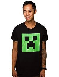 Minecraft Creeper Glow in the Dark Face Gaming T-Shirt mit Leuchteffekt schwarz - XL