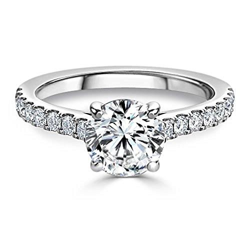 2.48ct taglio rotondo diamante fidanzamento fedi nuziali in oro bianco 14k solid taglia i j k l m n o p q r