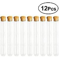 UKCOCO 12PCS Tubos de ensayo de vidrio transparente con tapones de corcho y cepillo para experimentos científicos Polvo de almacenamiento líquido 20 x 200 mm
