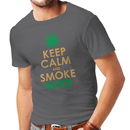 Männer T-Shirt Halten Sie Ruhe und Rauch - Marihuana Blatt - Unkraut Raucher (XXX-Large Graphit Gold) (Rauch Blättern)