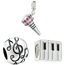 Queenberry Cuenta de plata con micrófono + Piano + música Nota G Clef European Style Bead Charms Set