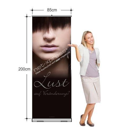 Rollup-Banner für Friseursalon (85 x 200 cm) Bannerdisplay Friseur