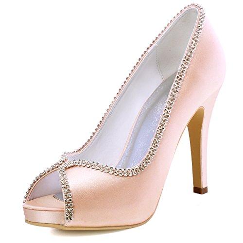 Elegantpark ep11083-ip donna satin peep toe con plateau tacco a spillo strass sposa scarpe da sposa rosa eu 36