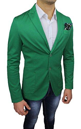 Giacca uomo Alessandro Gilles sartoriale verde casual elegante slim fit made in Italy (M)
