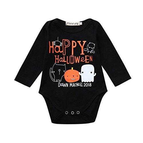 Abstand! Mingfa Baby Mädchen Jungen Langarm Strampler Jumpsuit für 3-18 Monate Halloween Kleidung Outfits, 12M, Schwarz, 1