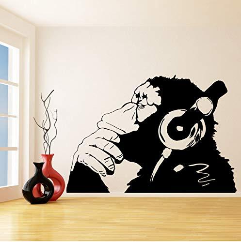Fushoulu Vinyl Wall Decal Affe Mit Kopfhörer Chimp Musik Im Kopfhörer Street Graffiti Aufkleber Wandbild Poster Hören