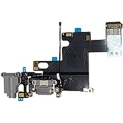 Smartex Connecteur de Charge Compatible avec iPhone 6 6G Gris Fonce - Câble Nappe de Rechange avec connecteur pour Microphone, Jack Audio, Bouton Home et écouteurs