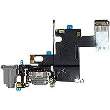 SMARTEX   Conector de Carga de Repuesto marca Smartex compatible con iPhone 6 6G Gris oscuro – Dock de repeusto con Cable Flex, Altavoz, Antena, Micrófono y Conexión Botón de inicio.