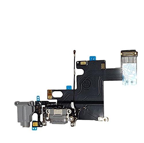 Smartex Connecteur de Charge Compatible avec iPhone 6 6G Gris Fonce – Câble Nappe de Rechange avec connecteur pour Microphone, Jack Audio, Bouton Home et écouteurs