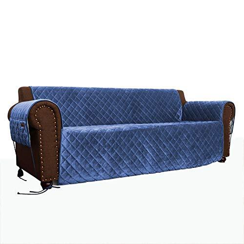 Copridivano divano reversibile fodera per mobili coprivestimento migliorato schermo con cinghie elastiche macchina fodera lavabile per animali cani bambini blu
