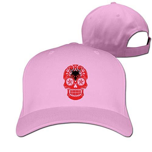 Pimkly Unisex Hüte,Baseballmützen, Albanian Flag Sugar Skull Cotton Pure Color Baseball Cap Classic Adjustable Plain Hat