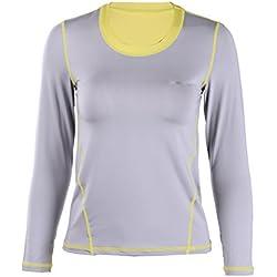 EUFANCE las Mujeres de Manga Larga Camiseta Deportiva Ejecución de Gimnasio de Yoga de la Aptitud de Secado Rápido Camiseta de Deportes La Luz Gris M