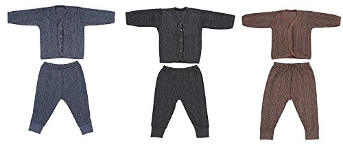 Baby Blossom Front Open Kids Thermal Top & Pyjama Set for Baby Boys & Baby Girls, Pack of 3 (Dark Color)(0-3 Months)