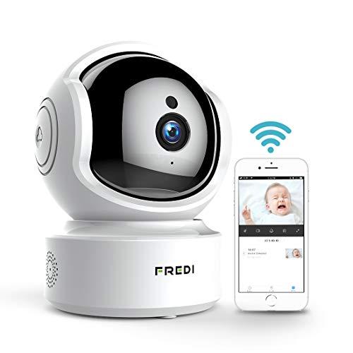 FREDI Caméra de Surveillance HD 1080P WiFi Sans fil Intérieur Cloud IP Camera Sécurité avec Vision Nocturne Motion Detection Systeme pour Maison Bureau CCTV Supporte SD Carte Jusqu'à 64Go(non incluse)