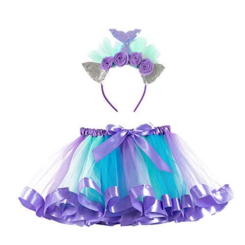 Laile Halloween Kostüm Kinder Tüllrock + Stirnband Set Prinzessin Tütü Kleid Party Regenbogen Bunt Rock Fotoshooting Festival Karneval Outfits Tutu mit Teufelshorn Haarbänder (Gruseligsten Kostüm Frauen)
