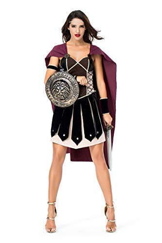 Fanessy. Halloween Kostüme Damen Spartanischer weiblicher Krieger Antiken römischen Arena Gladiator Kostüm Erwachsene Verkleidung Cosplay Outfits für Fasching Halloween Karneval Party (Weibliche Krieger Kostüm Zubehör)