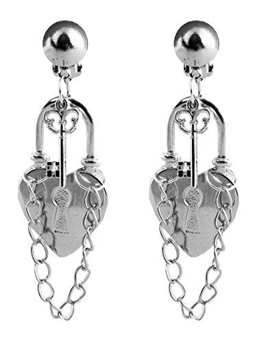 Faschingsfete Sträfling Kostüm Accessoire- Ohrringe Schloss Schlösser Häftling Prisoner, Silber