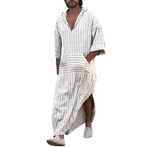 Kleider Rose D (Ethnische Roben der Gestreiften Männer Lösen Langes Hülsen-mit Kapuze Weinlese-beiläufiges Kleid Kaftan GreatestPAK)