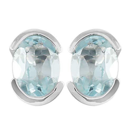 Ohrring Sterling-Silber 925 Topas Himmelblau 2,1 g