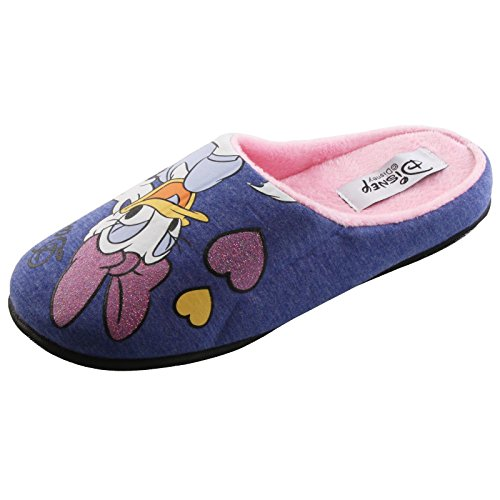 Tierhausschuhe Plüsch Hausschuhe Disney Daisy Duck Pantoffel Slipper Puschen Schlappen Original Damen Kinder, TH-Daisy Daisy Slipper