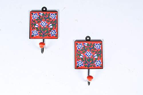 Rural Handmade Designer Multiuso 2 x Mix Look Vintage in Ceramica Colorata  (Rosso) Gancio Appendiabiti Porta Cappello Appendiabiti (Grande)