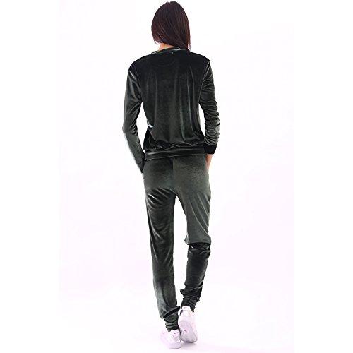 Mesdames Velour Loungewear fixé Sweatshirt et semelles EUR Taille 36-42 Kaki