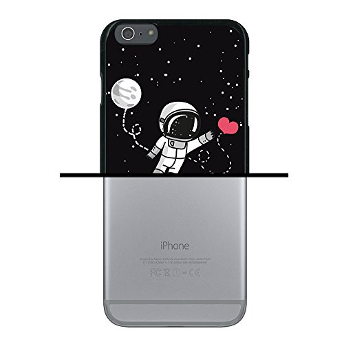 iPhone 6 Plus | 6S Plus Hülle, WoowCase Handyhülle Silikon für [ iPhone 6 Plus | 6S Plus ] Astronaut Herz - I Love To the Moon And Back Handytasche Handy Cover Case Schutzhülle Flexible TPU - Schwarz Housse Gel iPhone 6 Plus | 6S Plus Schwarze D0216