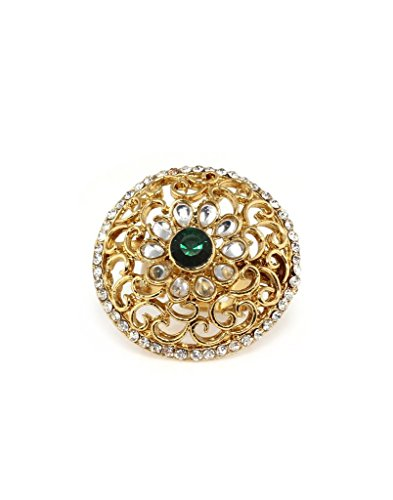 Bindhani Gold Plated Kundan Finger Ring For Women (Adjustable,Turquoise Green)  available at amazon for Rs.202