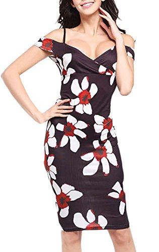 Etuikleider Damen Sundresses Festlich Elegant Knielang Sommer Trägerlos  Vintage V Ausschnitt Blumendrucken Kleider Bleistiftkleid Stil11