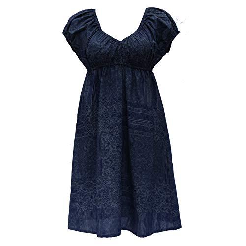Induswelt Damen Kleider V-Ausschnitt A-Linie Plus Übergrößen Große Größen Umstandskleid blau (XXL (50/52))