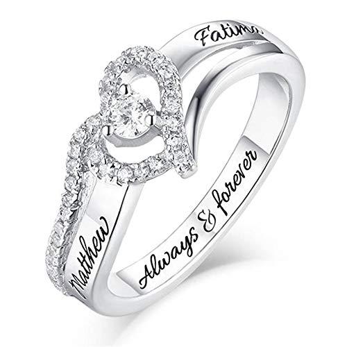 hjsadgasd Persönlicher Name Ringe Geburtssteine Versprechungsringe für Frauen Paar Verlobung Heart Rings Band