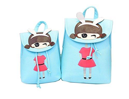 Yan Show Damen PU Schultertaschen Vertikale Linien Rucksack Handtasche Multifunktions Tasche(Grau) Himmelblau