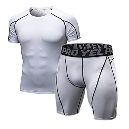 Z-Pertbil Compression Gym Enge Kleidung MäNner JogginganzüGe Sport-Sets Fitness-Bekleidung White M