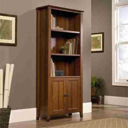 sauder-carson-forge-library-with-doors-and-3-adjustable-shelves-by-sauder-carson