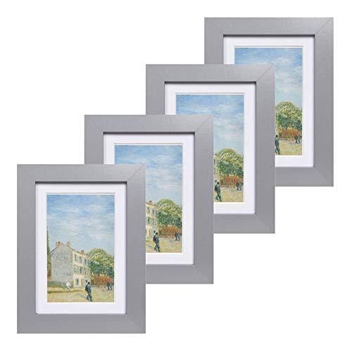 Muzilife Lot de 4 Cadres Photo 13x18 cm Vitre en Verre Décoration Murale pour Chambre, Salon, Bureau (Gris)