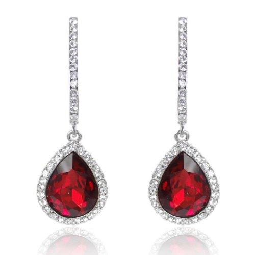 EVER FAITH lacrima Anelli dell'orecchio austriaca cristallo rosso N00826-8