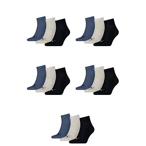 15 pair Puma Sneaker Quarter Socks Unisex Mens & Ladies 532 - navy/grey/nightshadow b