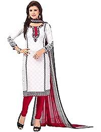 A K Designer Women's Chiffon Dress Material (Mehak1015_Free Size_White)