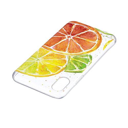 Per iPhone X,Sunrive Custodia Cover Case in molle Trasparente Ultra Sottile TPU silicone Morbida Flessibile Pelle Antigraffio protettiva(tpu fiore) tpu arancione