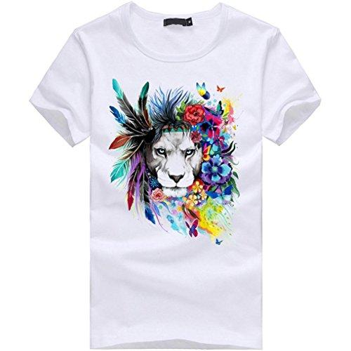 Amlaiworld Sommer Causal Buntes O-Neck Print T-Shirt für Herrent , 2017 New Fashion Kurzarm T-Shirts Weiß (S, Weiß)