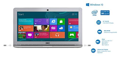 HKC NT14W-DE 35,6cm (14 Zoll ) 1920x1080 Full HD IPS Bildschirm Laptop, 4GB RAM, 32GB eMMC Speicher, USB 3.0, (Intel Atom Quad Core, x5 Z8350 CPU, Burst Frequenz 1,92 GHz, Intel FHD, Deutsch Windows Home 10, 64 Bit), Deutsch Tastatur. Deutsch Netzadapter, Silber, neue Version - 2