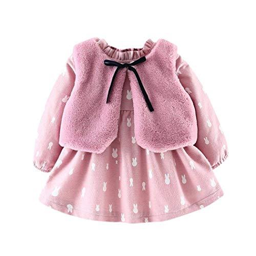 Baby Mädchen Kleider, Allskid Neugeborenes Kleinkind Langarm Karikatur Prinzessin Kleid + Plüsch Weste Mantel Zwei Stück Set