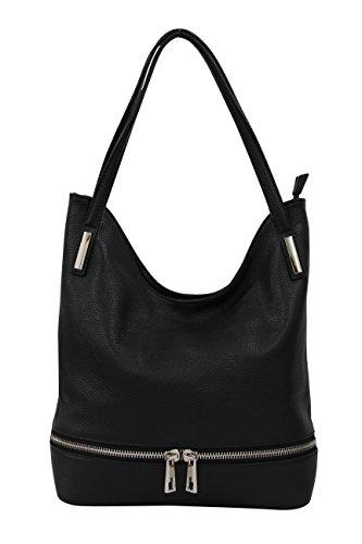 AmbraModa Italienische Damen Handtasche Schultertasche aus Leder GL04 (Schwarz)