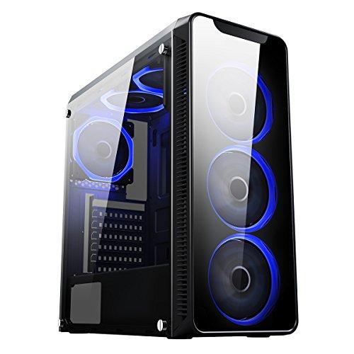 CiT Blaze Gaming-Gehäuse mit 6x Lüfter mit je einem blauen Ring und einem Fenster aus gehärtetem Glas an der Seite-schwarz