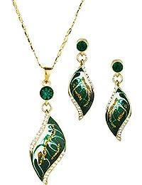 NEOGLORY Conjunto Collar Pendientes Esmalte Verde Oro 14K Enchapado Joya Original Mujer