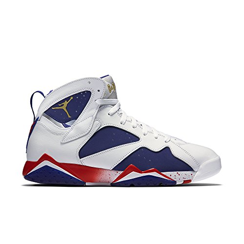 Nike Herren Air Jordan 7 Retro Basketballschuhe White/Deep Royal Blue/Fire Red/Metallic Gold Coin