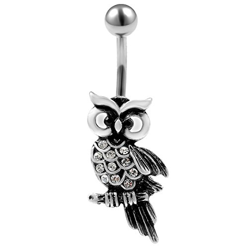 bauchnabelpiercing 1,6 x 10mm chirurgenstahl owl Eule mit kristall piercing stecker bauchnabel banane bauchpiercing nabelpiercing bauch nabel piercing AAWG