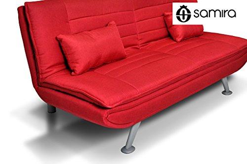 Divano letto clic clac in tessuto rosso – Divano 3 posti mod. Iris con cuscini
